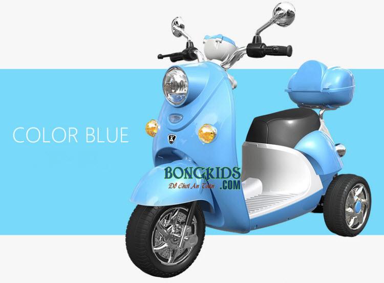 xe máy điện trẻ em vespa cao cấp màu xanh
