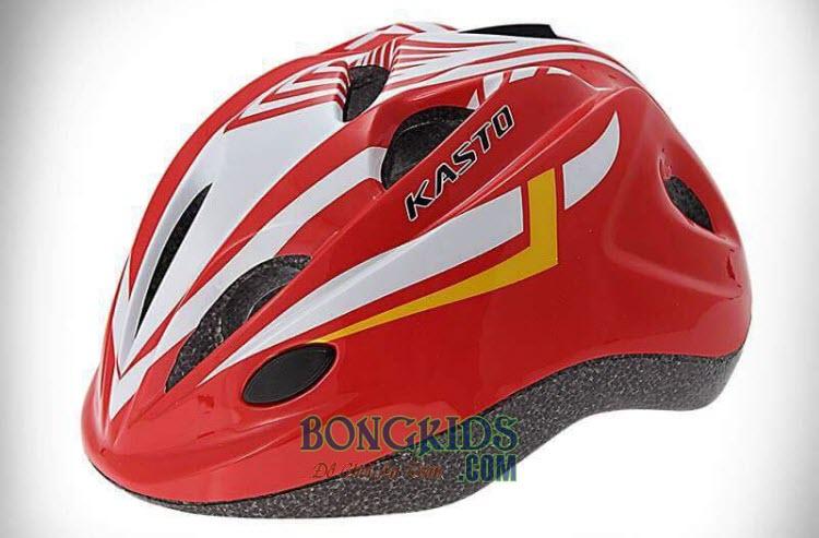 Mũ bảo hiểm cho bé Kasto màu đỏ pha trắng