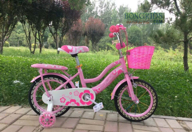 Xe đạp công chúa cho bé gái màu hồng nhạt