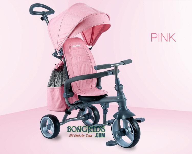 Xe đạp 3 bánh trẻ em HSR-199 màu hồng nhạt