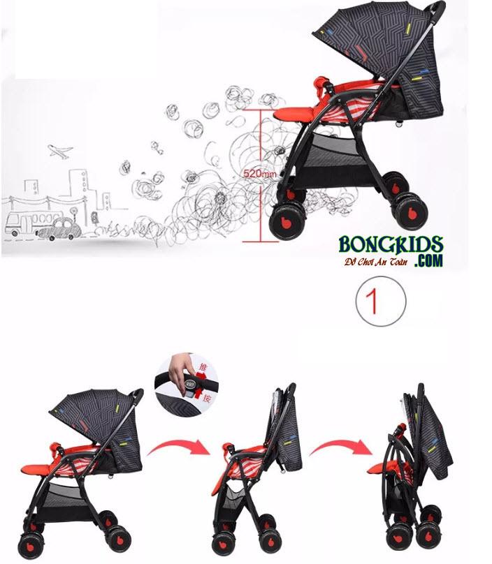 Xe đẩy cho bé Baobaohao 736S có thểđiều chỉnh mái che phù hợp với thời tiết