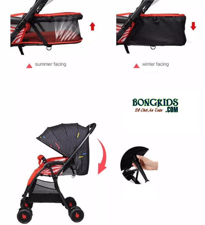 Xe đẩy cho bé Baobaohao 736S có thể ngả 175 độ cho bé ngủ