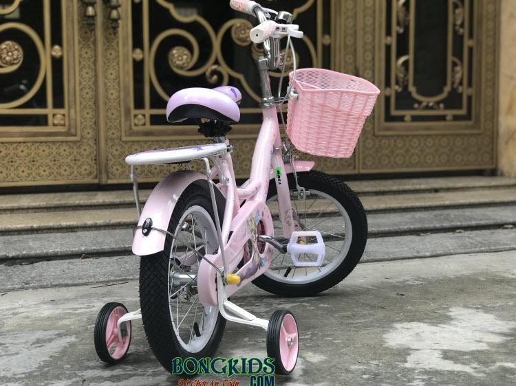 Xe đạp nàng tiên cá cho bé gái-158 màu hồng phía sau xe