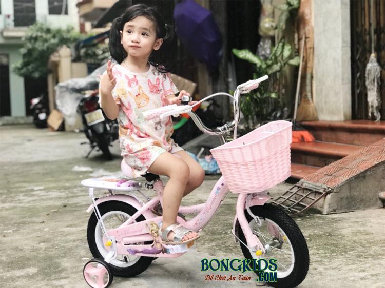 Xe đạp nàng tiên cá cho bé gái 158 màu hồng cực yêu