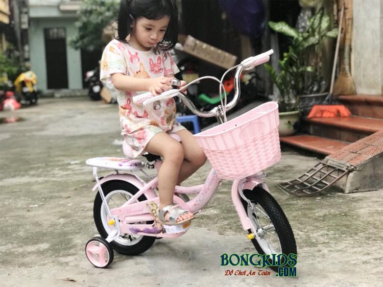 Xe đạp nàng tiên cá cho bé gái-158 có chuông báo hiệu