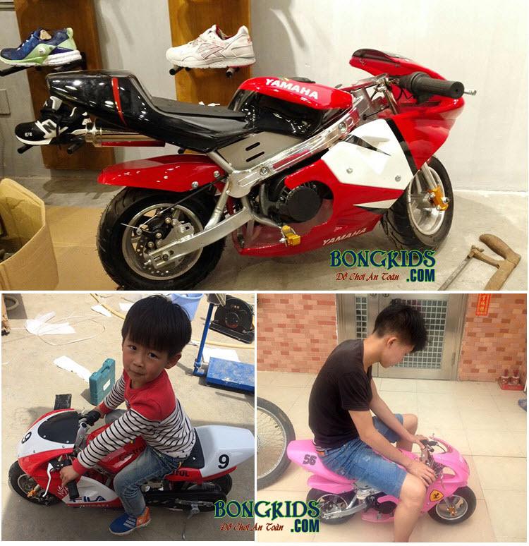 Xe máy chạy xăng thể thao trẻ em màu đỏ