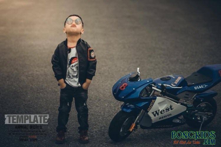Xe máy chạy xăng thẻ thao trẻ em màu xanh lục
