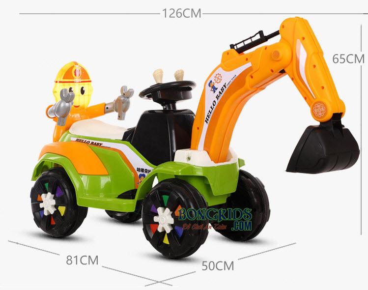 Kích thước xe cần cẩu điện cho bé 318