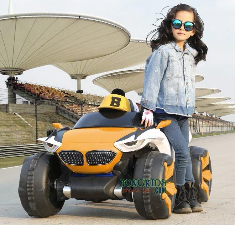 Xe ô tô điện trẻ em XJL-688 màu vàng cam