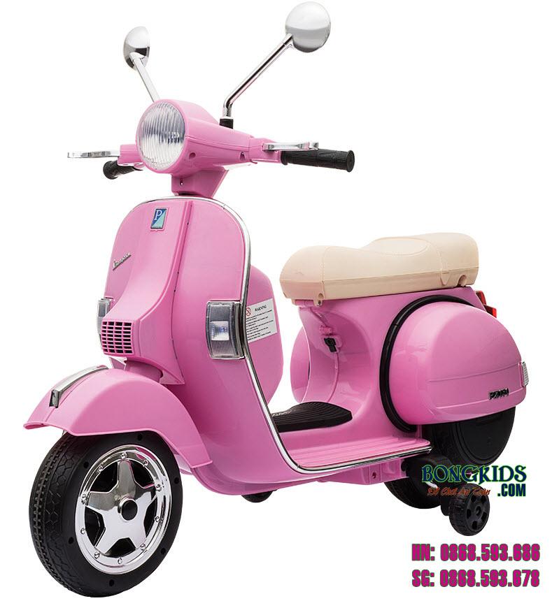 Xe mô tô điện trẻ em Vespa PX150 màu hồng