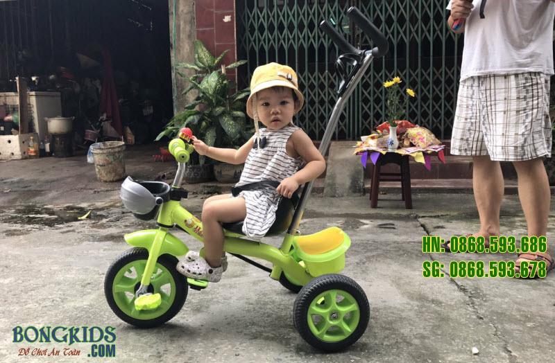Xe đạp 3 bánh trẻ em 008 màu cốm