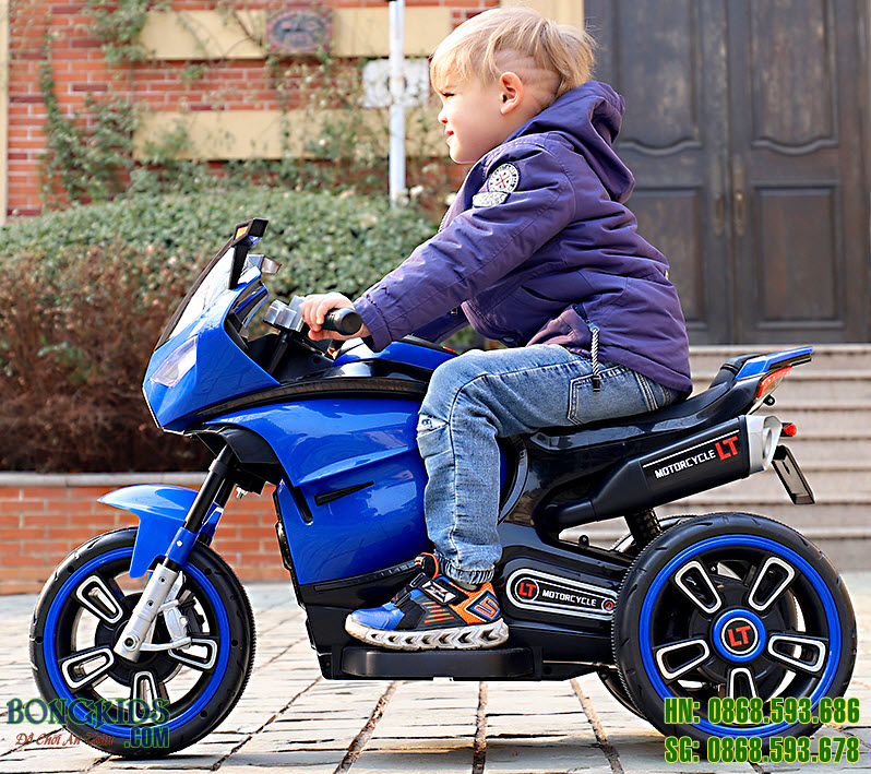 Xe máy điện trẻ em LT618 màu xanh