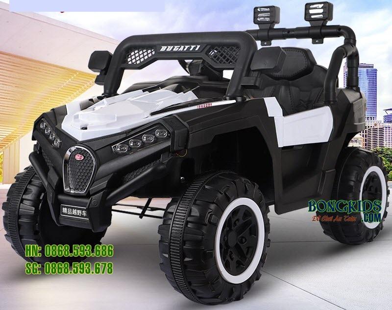 Xe ô tô điện trẻ em Bugatiti Jeep màu trắng