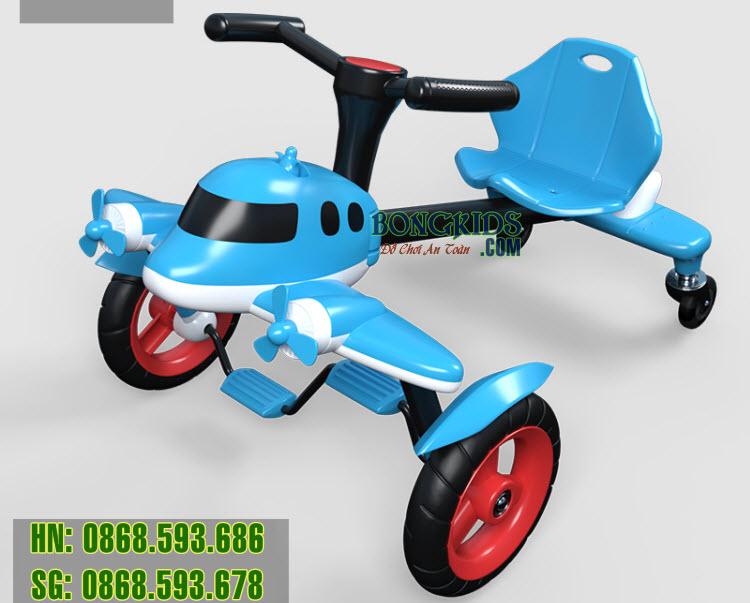 Xe đạp drift đầu máy bay cho trẻ em màu xanh