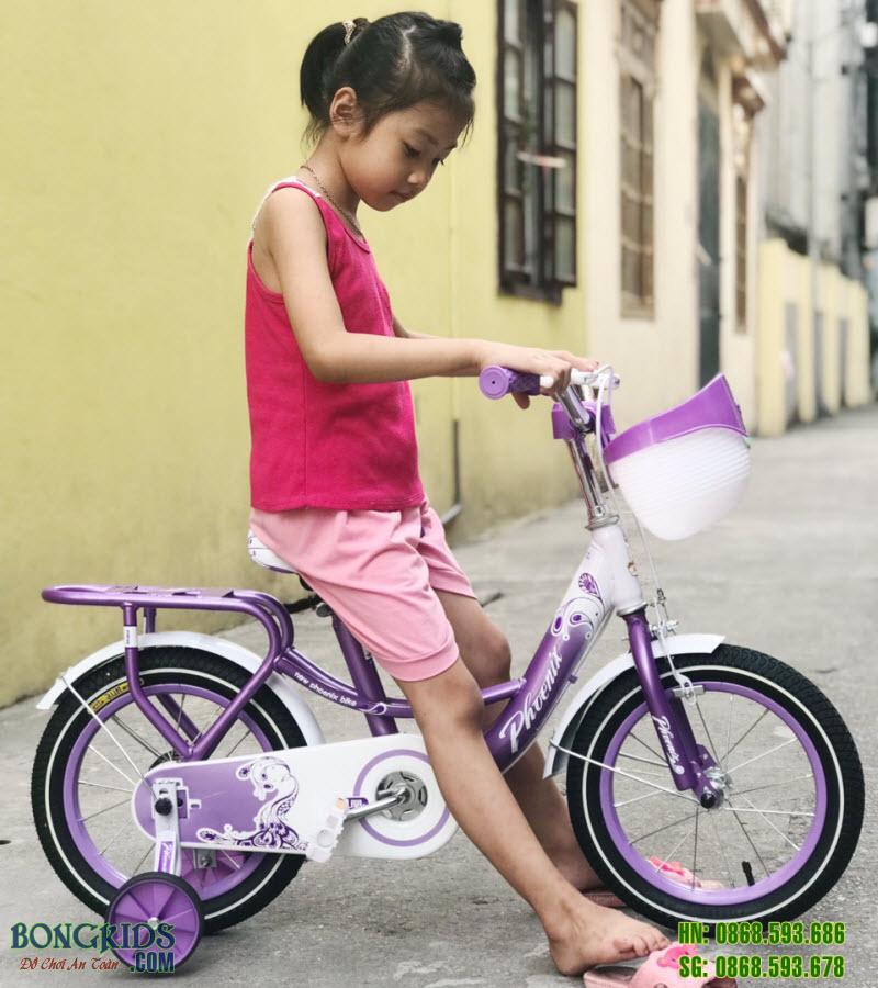 Xe đạp cho bé gái 170 màu tím