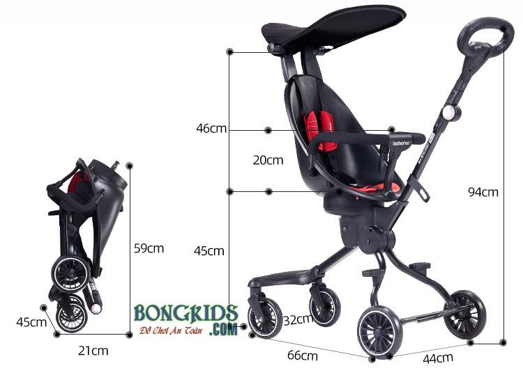 Kích thước xe đẩy thông minh cho bé V5B