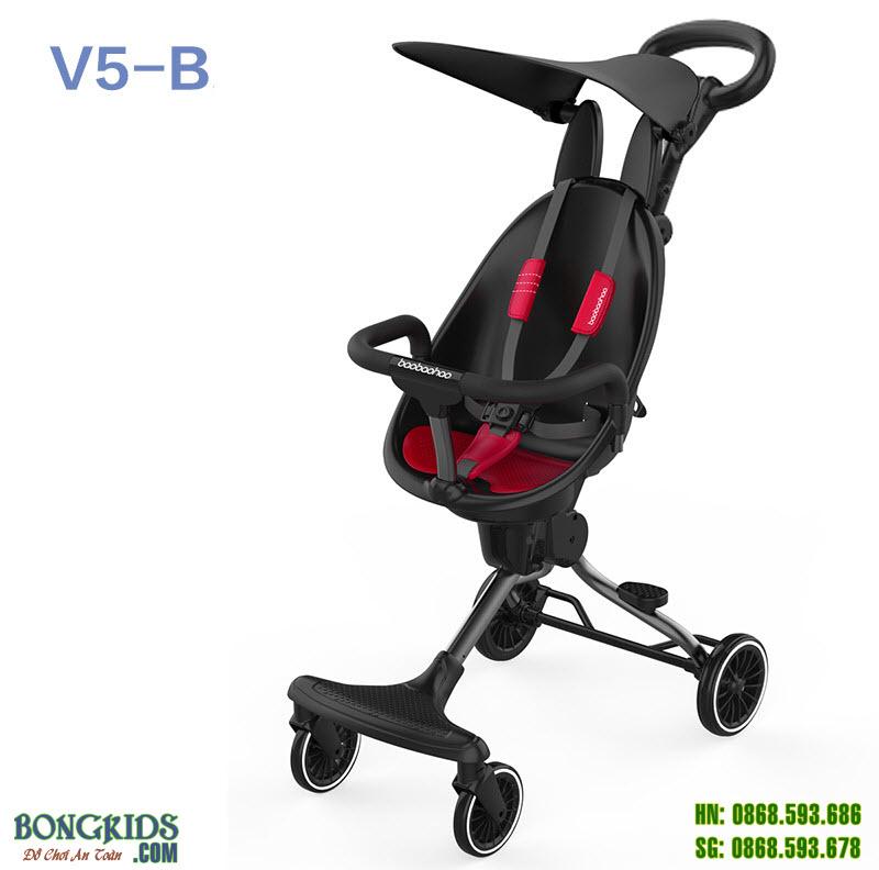 Xe đẩy thông minh 4 bánh cao cấp V5B màu đỏ đen