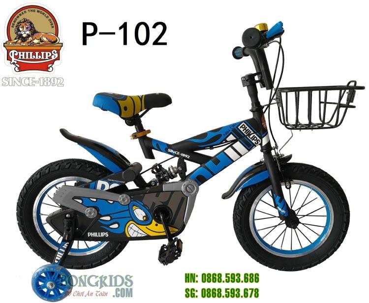 Xe đạp trẻ em Phillips P-102 (TFLH) Xanh dương