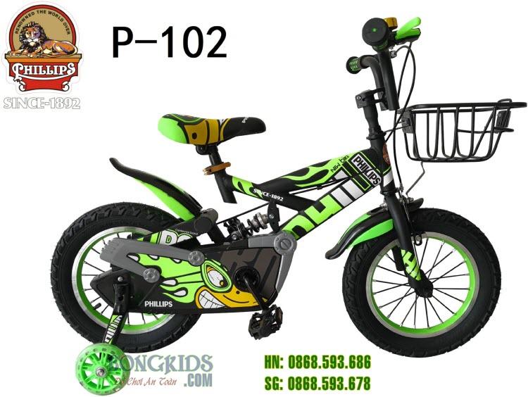 Xe đạp trẻ em Phillips P-102 (TFLH) Xanh lá