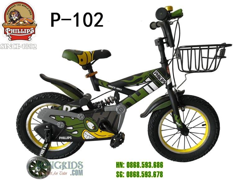 Xe đạp trẻ em Phillips P-102 (TFLH) Xanh rêu
