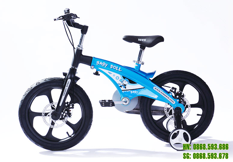 Xe đạp trẻ em cao cấp Baby Doll BWT 201 - màu xanh