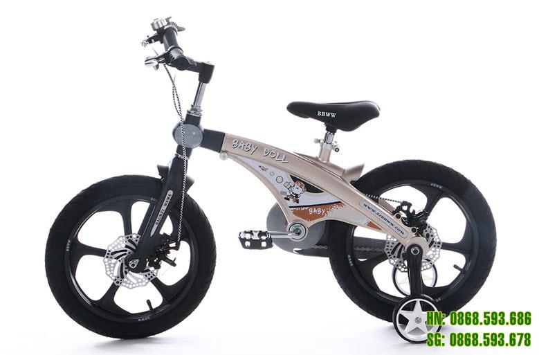 Xe đạp trẻ em cao cấp Baby Doll BWT 201 - Vành Đúc - Phanh Đĩa màu đồng