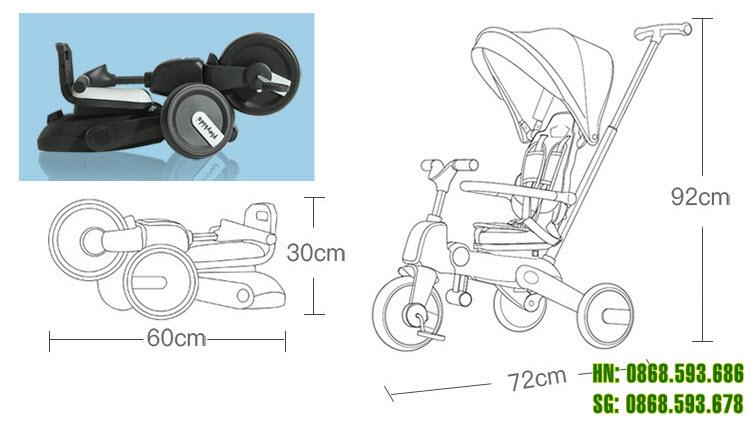 Kích thước xe đạp 3 bánh trẻ em S03
