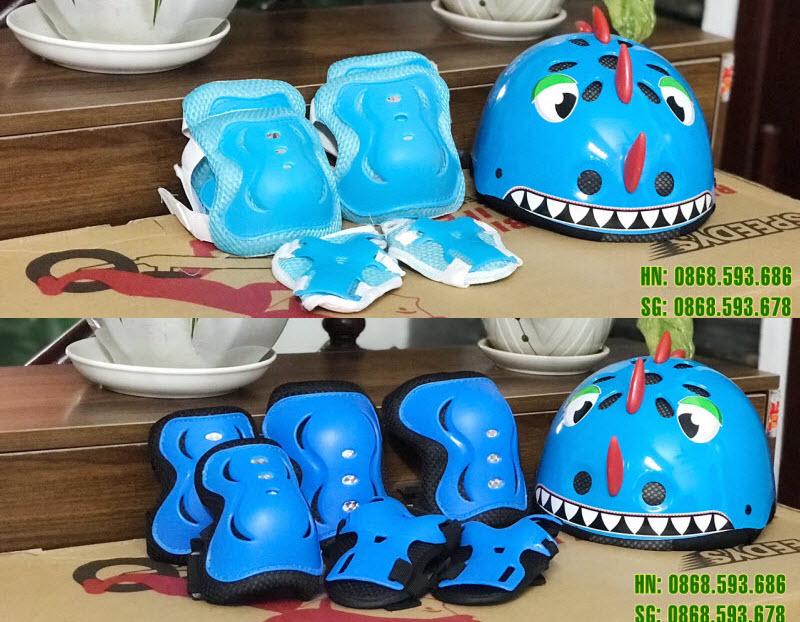 Combo mũ bảo hiểm và bảo vệ tay chân cho bé màu xanh
