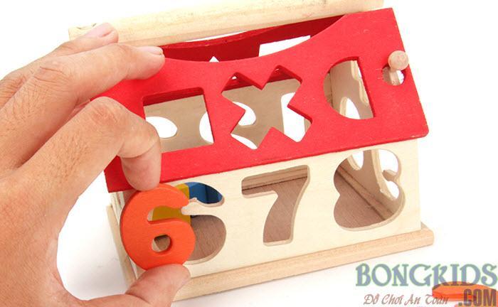 Nhà thả khối và số cho bé - bongkids.com