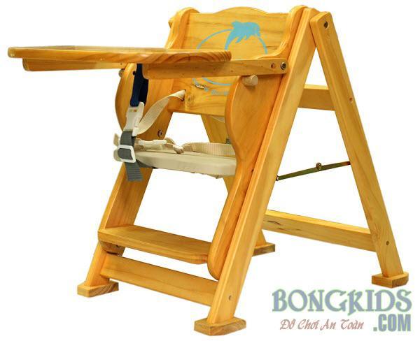 Ghế ăn bột bằng gỗ cho bé IQ Toys
