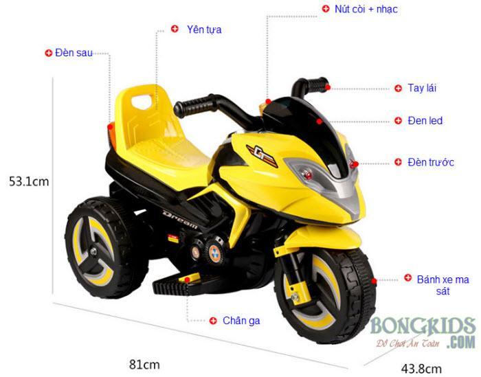 Kích thước xe máy điện trẻ em 9802