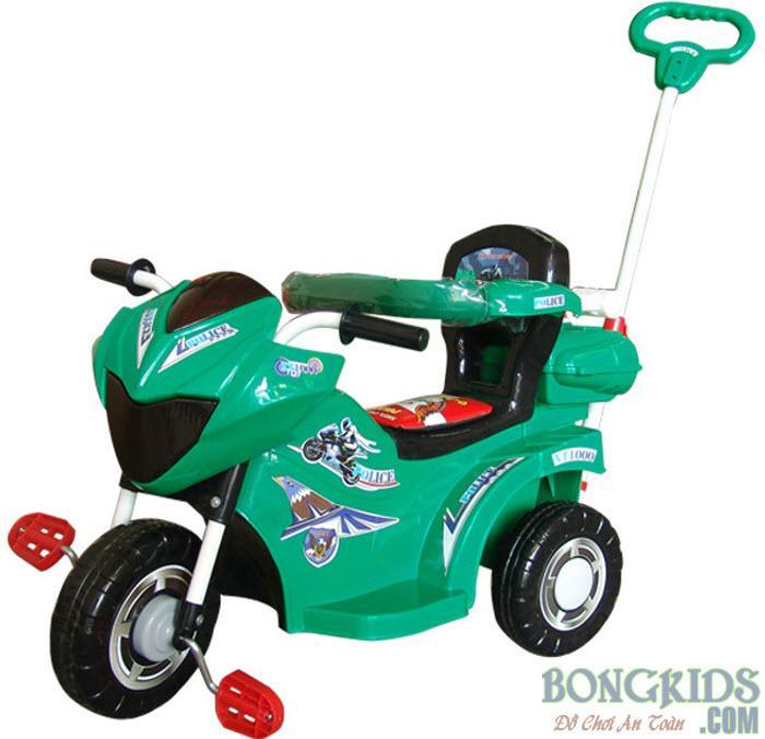 Xe ba bánh cho bé L9 Police màu xanh có bảo hiểm