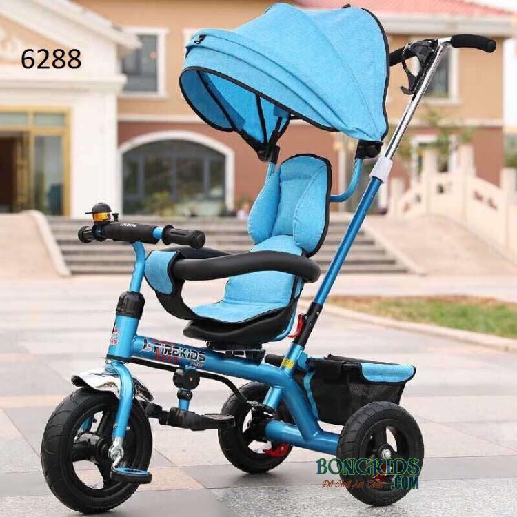 Xe 3 bánh trẻ em 6288 có cần đẩy và mái che