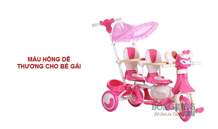 Xe đạp 3 bánh trẻ em 9027 màu hồng