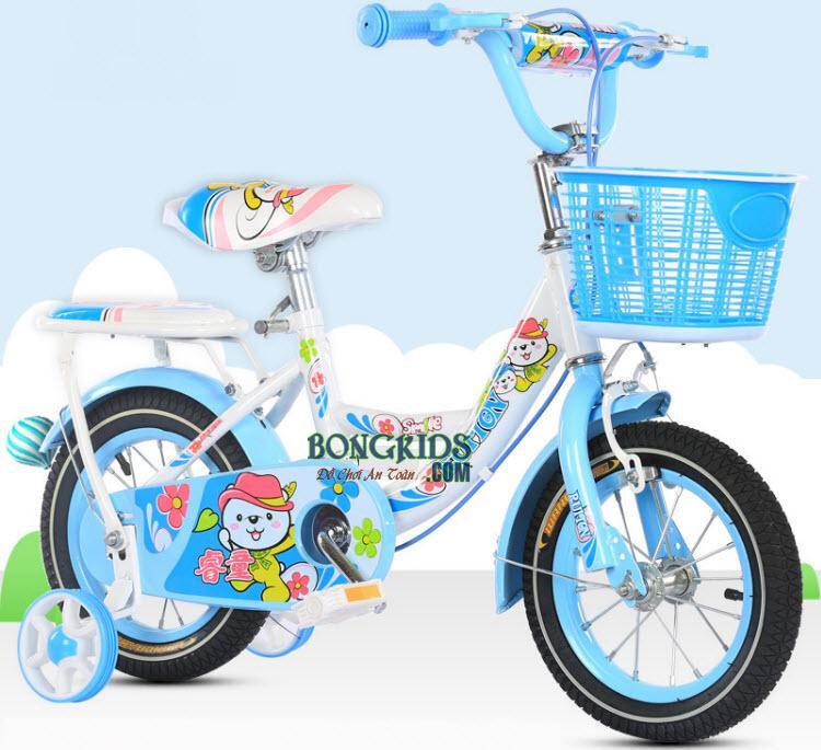 Xe đạp trẻ em công chúa cho bé gái màu xanh