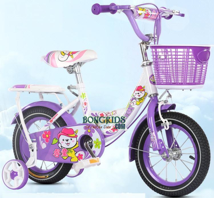 Xe đạp trẻ em công chúa cho bé gái màu tím