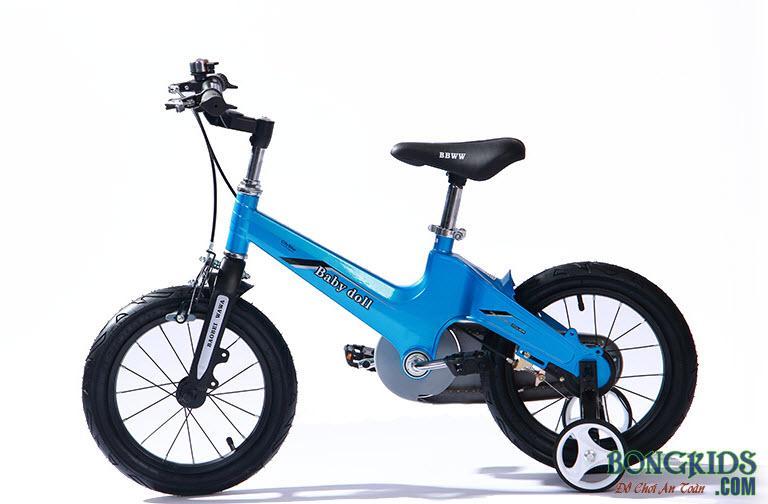Xe đạp trẻ em cao cấp Baby Doll BWT203 màu xanh