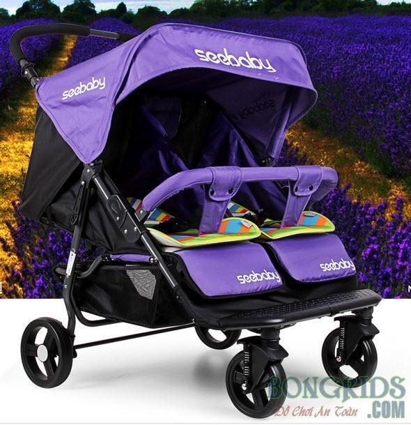Xe đẩy đôi trẻ em Seebaby T22 màu tím
