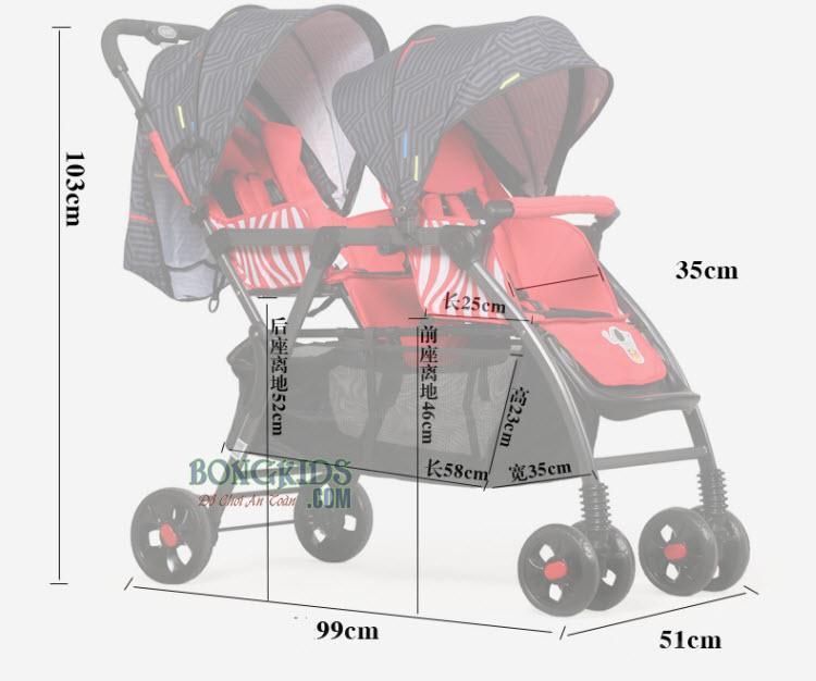 Xe đẩy đôi Baobaohao 705 (ghế trước ghế sau) 7