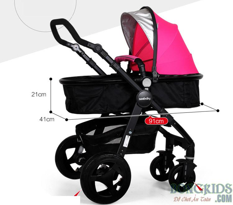 Kích thước xe đẩy em bé Seebaby T18A bánh cao su