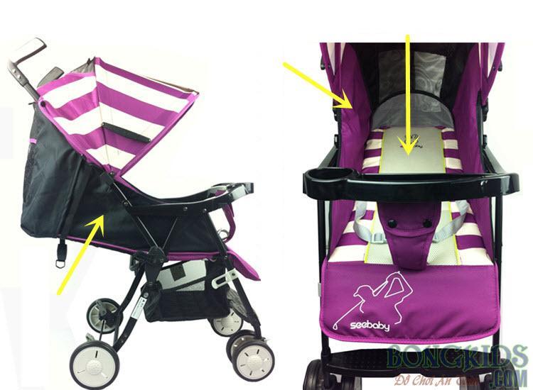 Xe đẩy trẻ em Seebaby Q3-1 màu tím