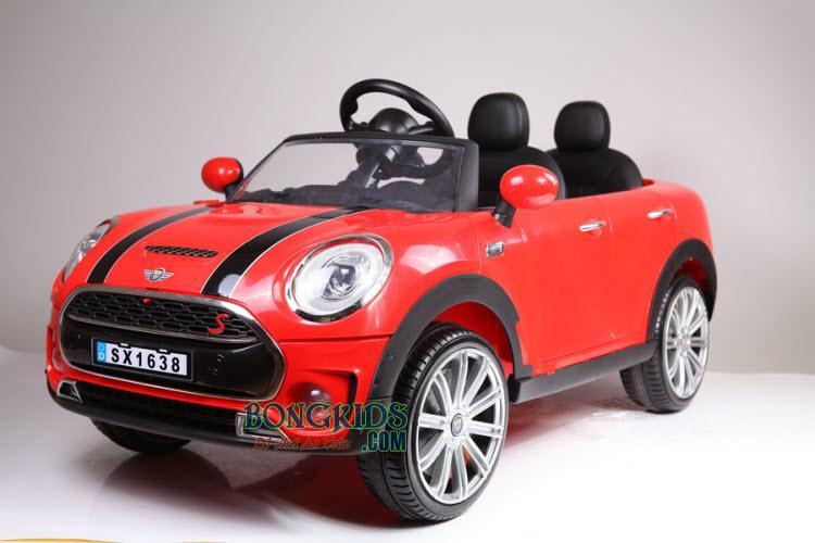 Xe ô tô điện trẻ em Mini Cooper SX-1638 (Hai ghế trước sau) màu đỏ