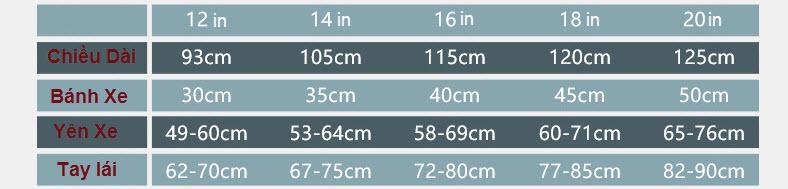 Bảng Kích thước Xe đạp xích cho trẻ em 333 cao cấp vành đúc