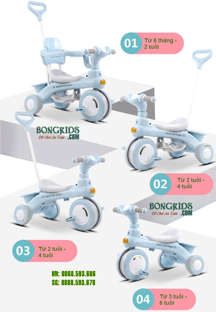 Xe đạp 3 bánh 688 có thể tháo cần đẩy và khung an toàn theo độ tuổi phù hợp cho bé