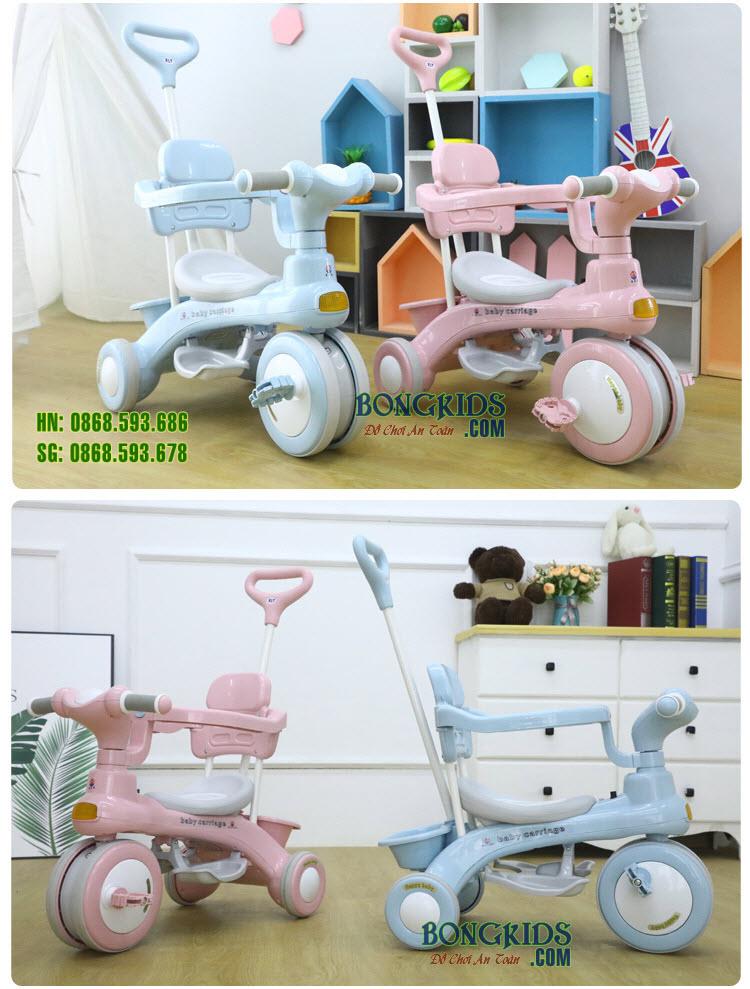 Xe đạp 3 bánh 688 Baby carriage có cần đẩy - khung an toàn