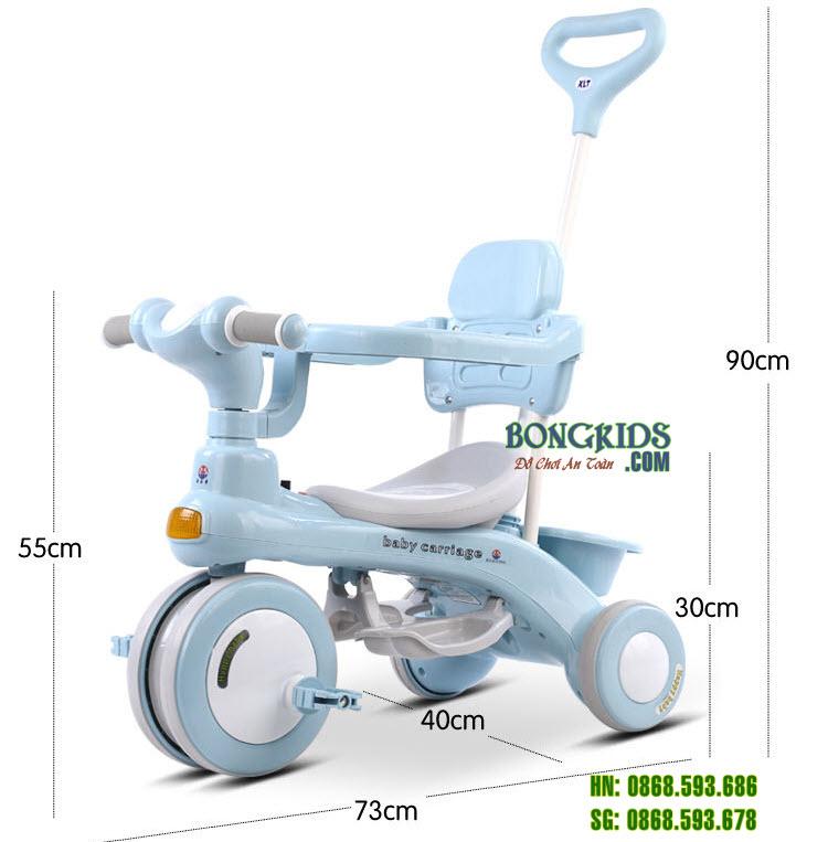 Kích thước Xe đạp 3 bánh 688 có cần đẩy - khung an toàn