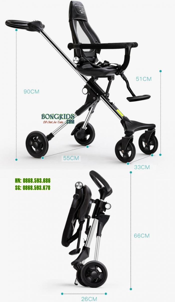 Xe đẩy thông minh 4 bánh Ride X1 NEW - Kích thước