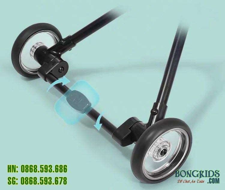 Xe đẩy thông minh 4 bánh gấp gọn LJ-T01 chính hãng Kiwicool - Khóa bánh